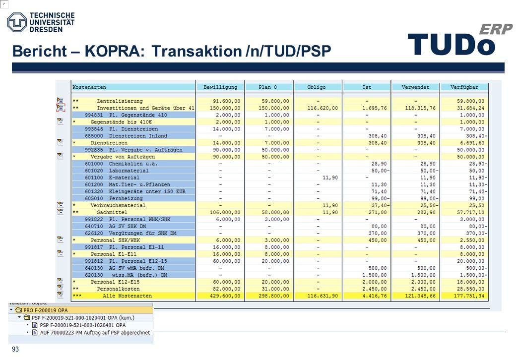 Bericht – KOPRA: Transaktion /n/TUD/PSP