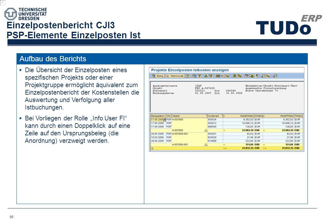 Einzelpostenbericht CJI3 PSP-Elemente Einzelposten Ist