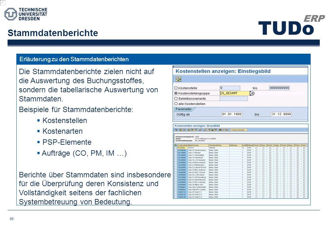 Stammdatenberichte Erläuterung zu den Stammdatenberichten.
