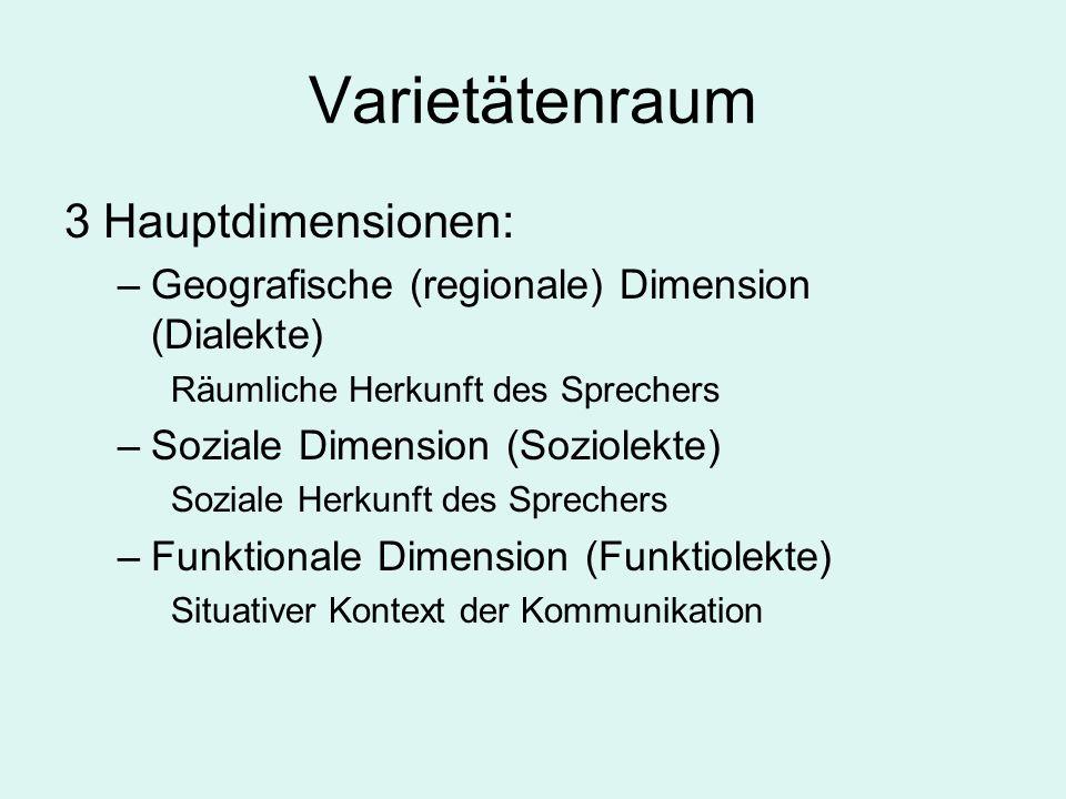 Varietätenraum 3 Hauptdimensionen: