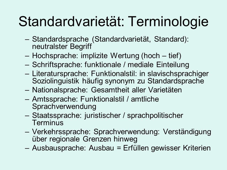 Standardvarietät: Terminologie