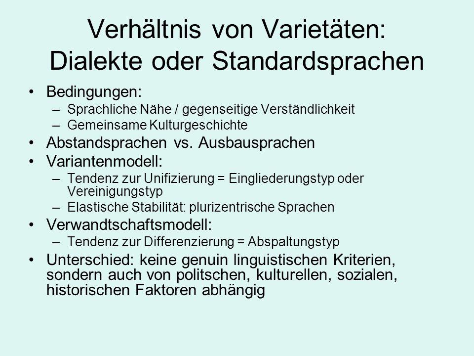 Verhältnis von Varietäten: Dialekte oder Standardsprachen