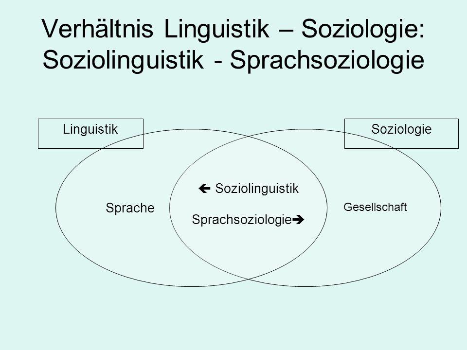 Verhältnis Linguistik – Soziologie: Soziolinguistik - Sprachsoziologie