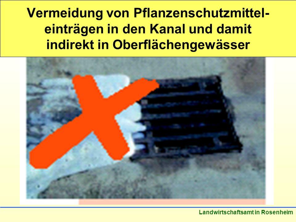 Vermeidung von Pflanzenschutzmittel-einträgen in den Kanal und damit indirekt in Oberflächengewässer