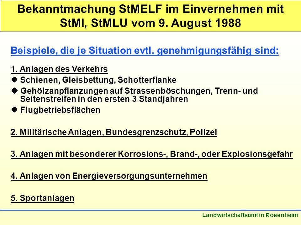 Bekanntmachung StMELF im Einvernehmen mit StMI, StMLU vom 9