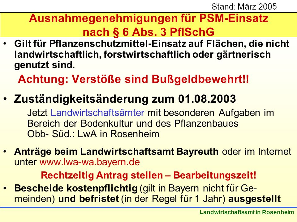 Ausnahmegenehmigungen für PSM-Einsatz nach § 6 Abs. 3 PflSchG