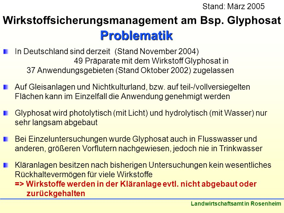 Problematik Wirkstoffsicherungsmanagement am Bsp. Glyphosat