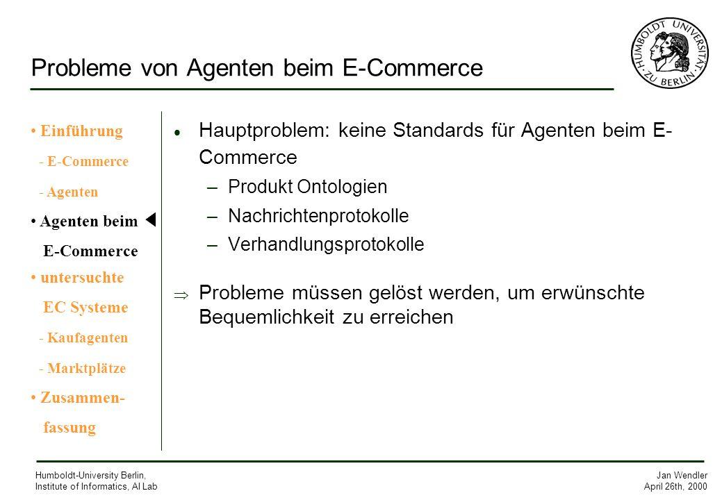 Probleme von Agenten beim E-Commerce