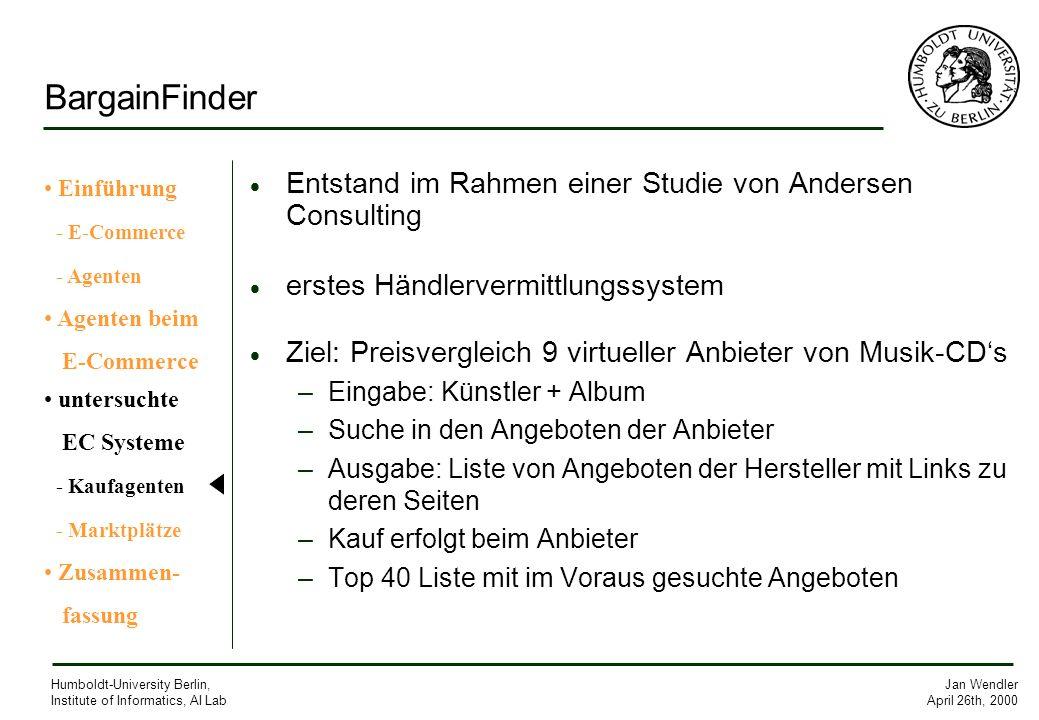 BargainFinder Entstand im Rahmen einer Studie von Andersen Consulting