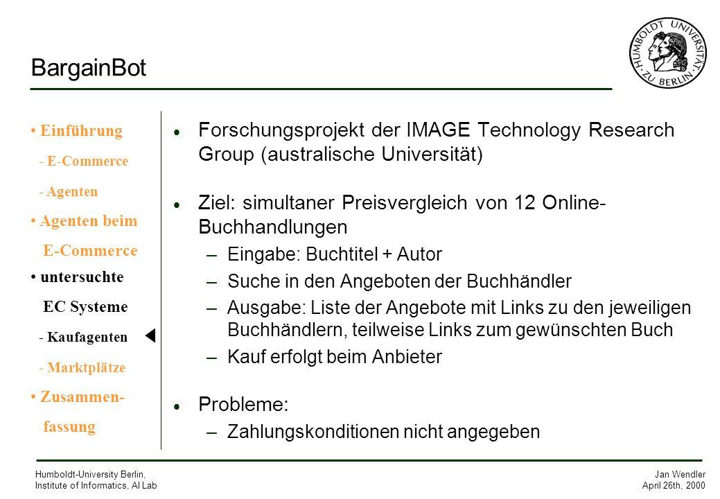 BargainBot Einführung. - E-Commerce. - Agenten. Agenten beim. E-Commerce. untersuchte. EC Systeme.
