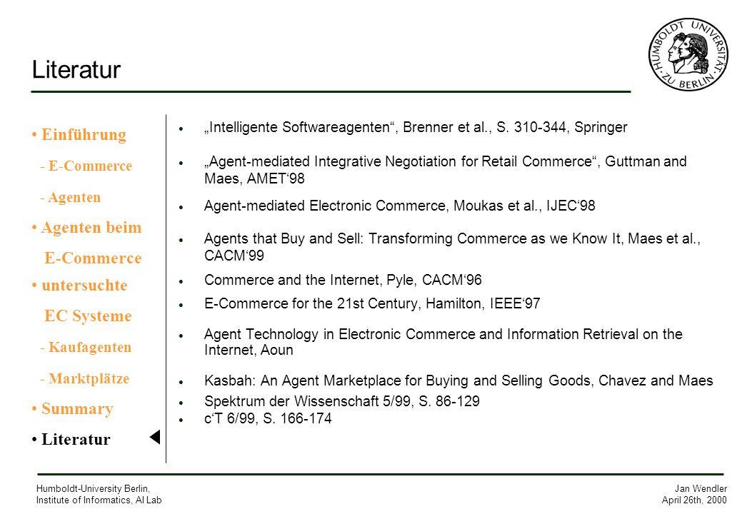 Literatur Einführung - E-Commerce - Agenten Agenten beim E-Commerce