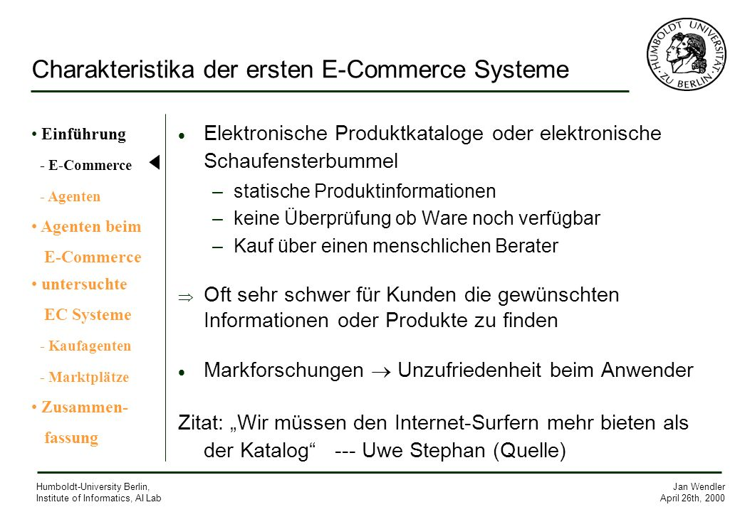 Charakteristika der ersten E-Commerce Systeme