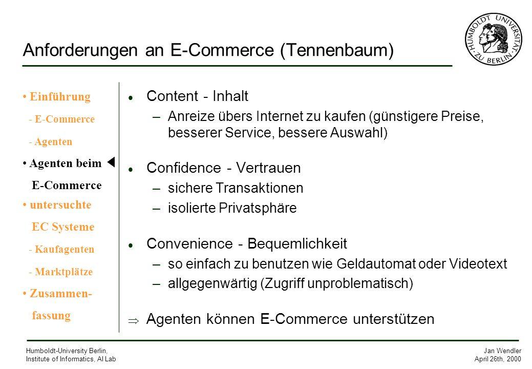 Anforderungen an E-Commerce (Tennenbaum)