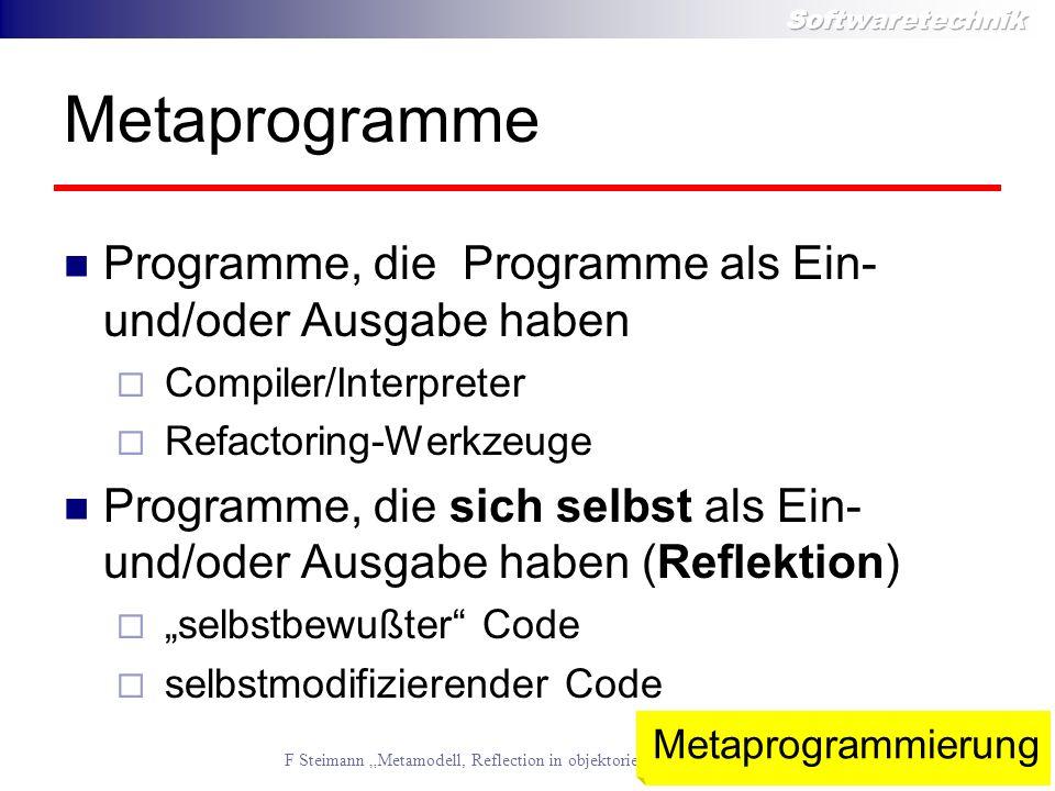 Metaprogramme Programme, die Programme als Ein- und/oder Ausgabe haben