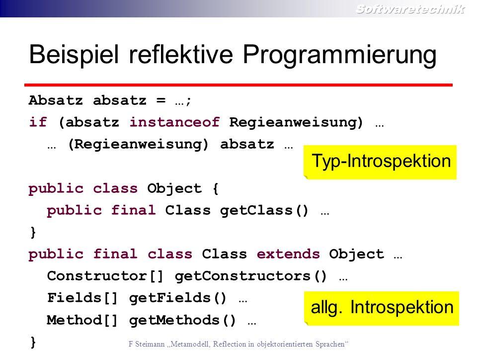 Beispiel reflektive Programmierung