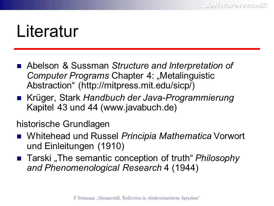 "Literatur Abelson & Sussman Structure and Interpretation of Computer Programs Chapter 4: ""Metalinguistic Abstraction (http://mitpress.mit.edu/sicp/)"