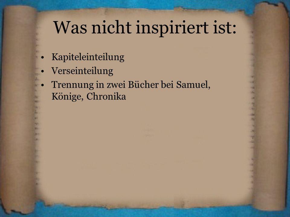 Was nicht inspiriert ist: