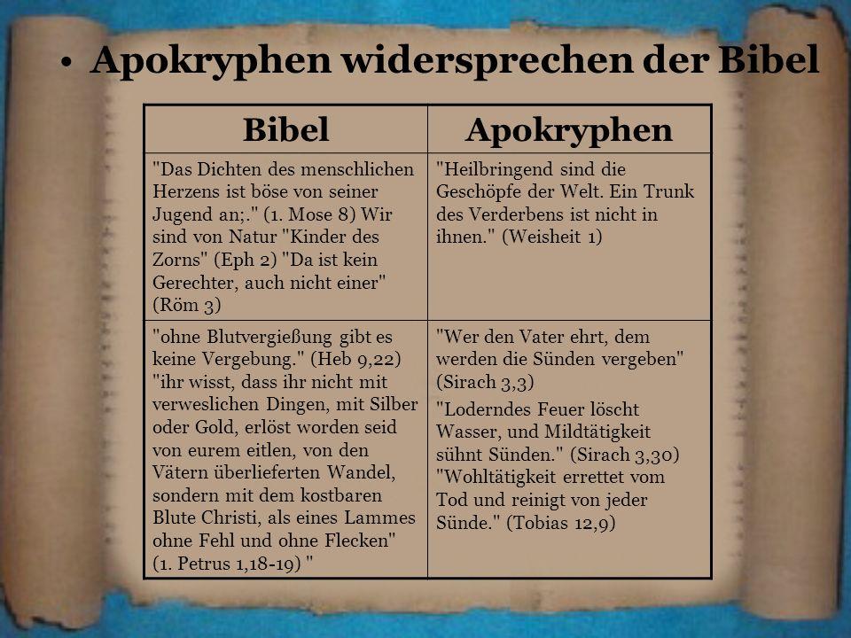 Apokryphen widersprechen der Bibel