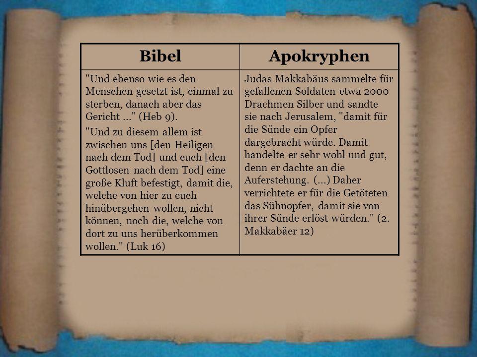 BibelApokryphen. Und ebenso wie es den Menschen gesetzt ist, einmal zu sterben, danach aber das Gericht ... (Heb 9).