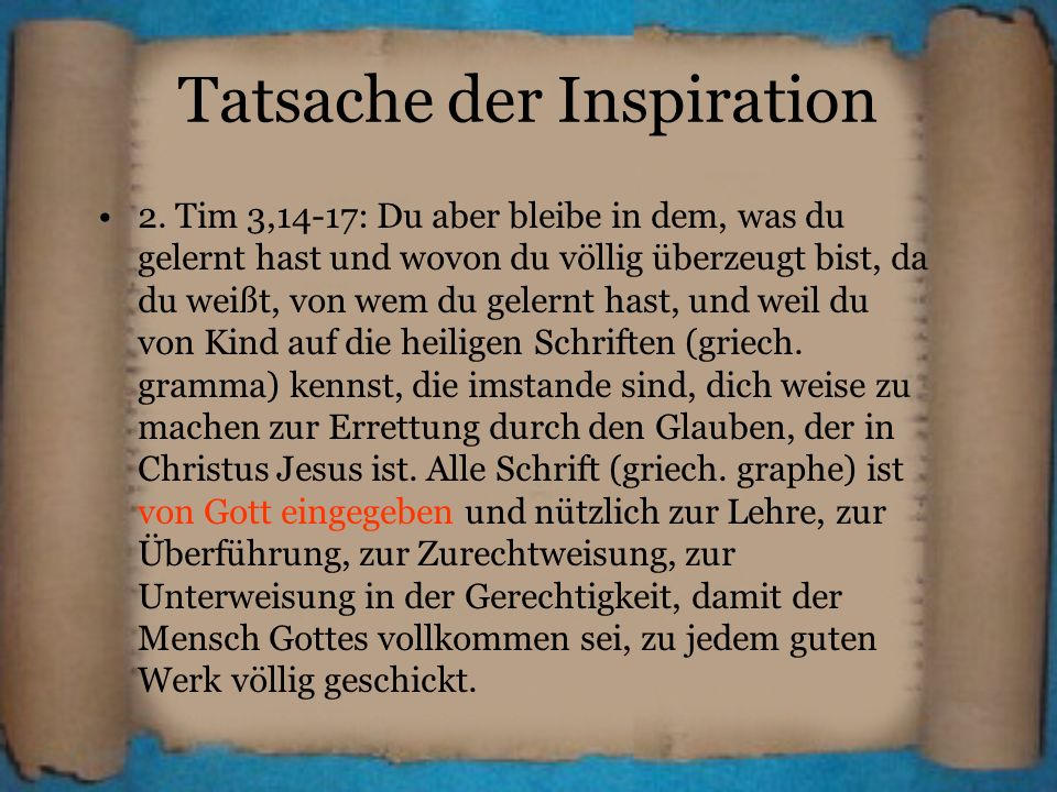 Tatsache der Inspiration