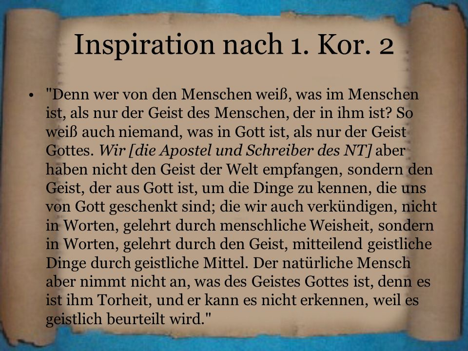 Inspiration nach 1. Kor. 2