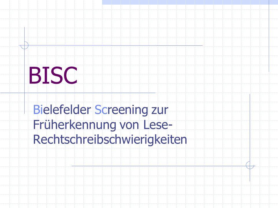 BISC Bielefelder Screening zur Früherkennung von Lese-Rechtschreibschwierigkeiten