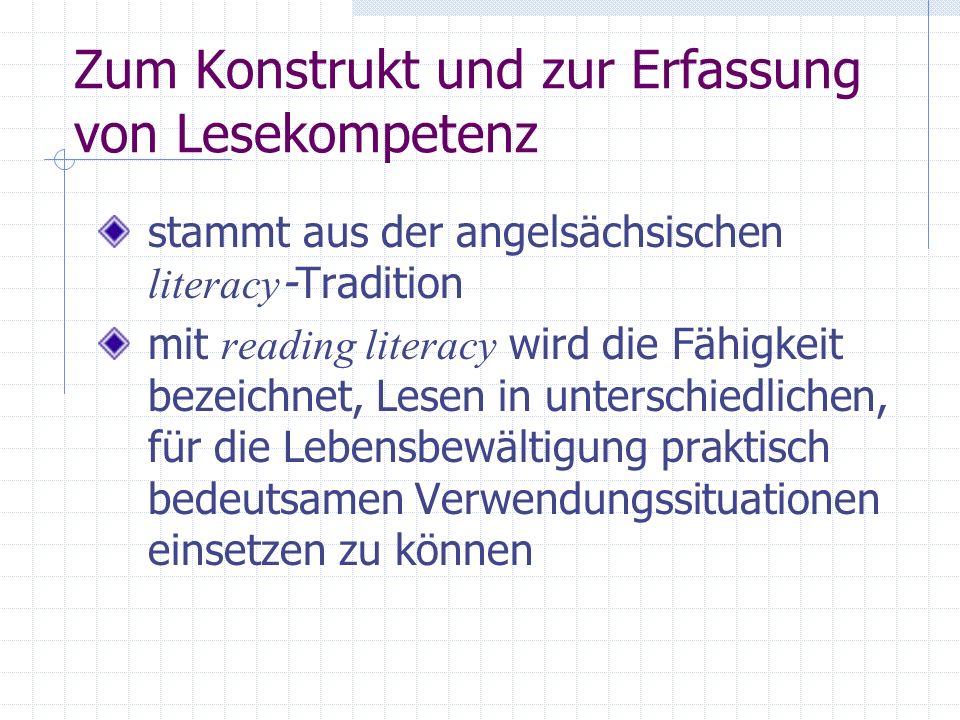 Zum Konstrukt und zur Erfassung von Lesekompetenz