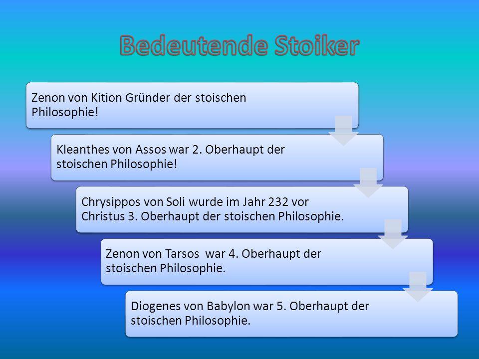 Bedeutende Stoiker Zenon von Kition Gründer der stoischen Philosophie!