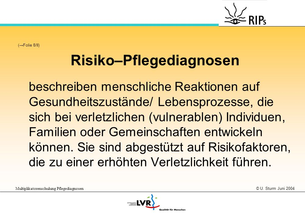 Risiko–Pflegediagnosen