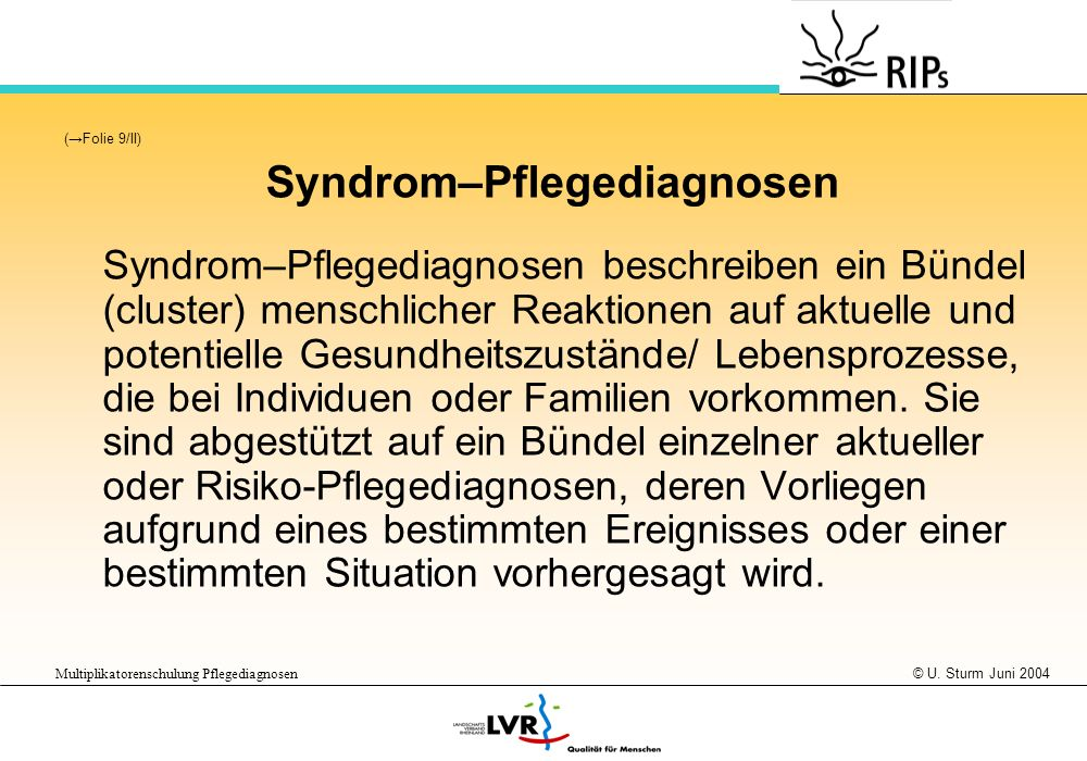 Syndrom–Pflegediagnosen