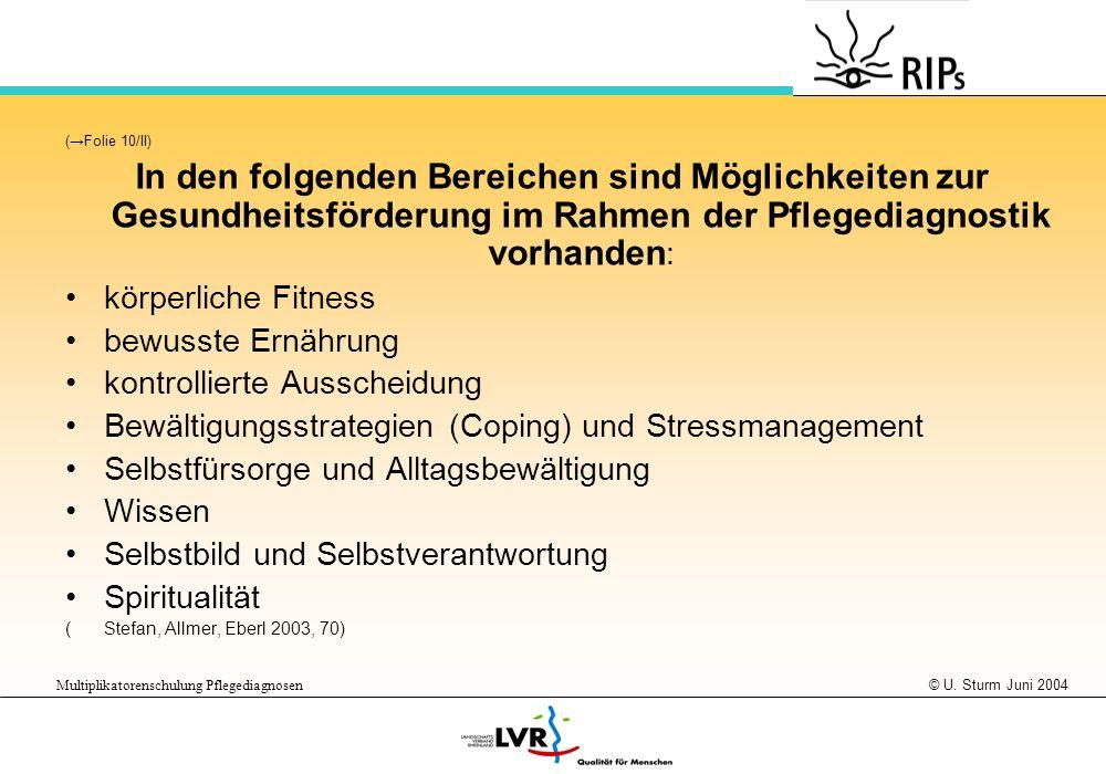 (→Folie 10/II) In den folgenden Bereichen sind Möglichkeiten zur Gesundheitsförderung im Rahmen der Pflegediagnostik vorhanden: