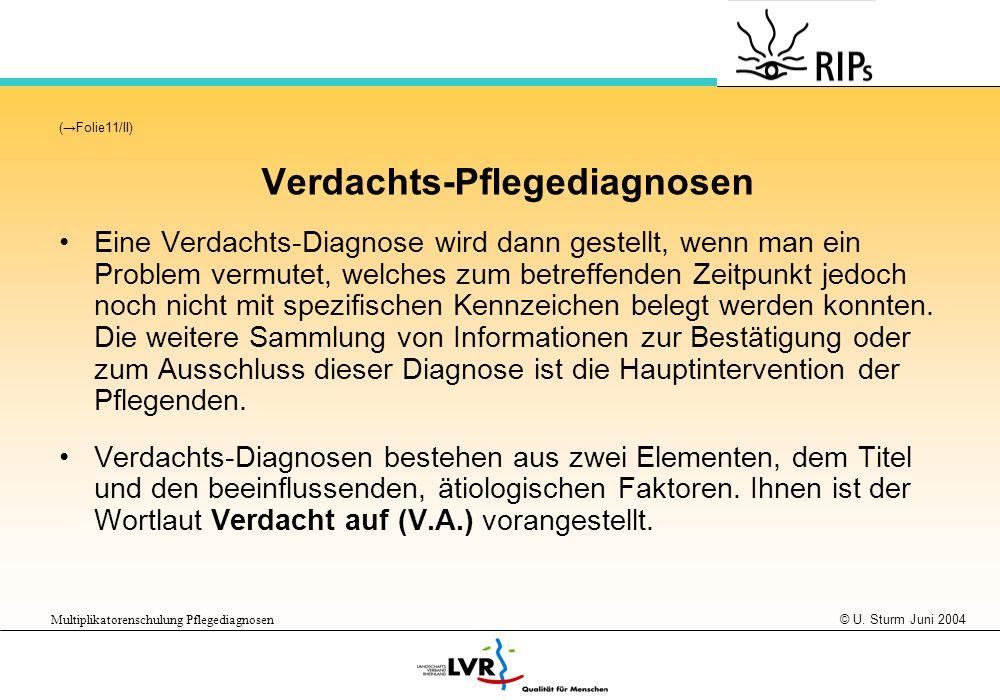 Verdachts-Pflegediagnosen