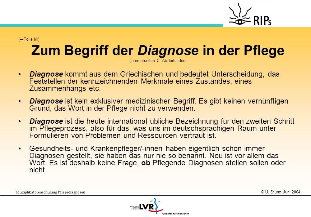 Zum Begriff der Diagnose in der Pflege