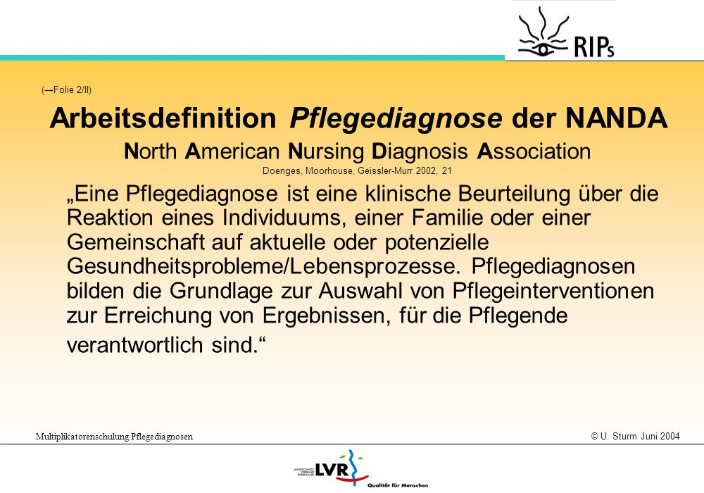 Arbeitsdefinition Pflegediagnose der NANDA