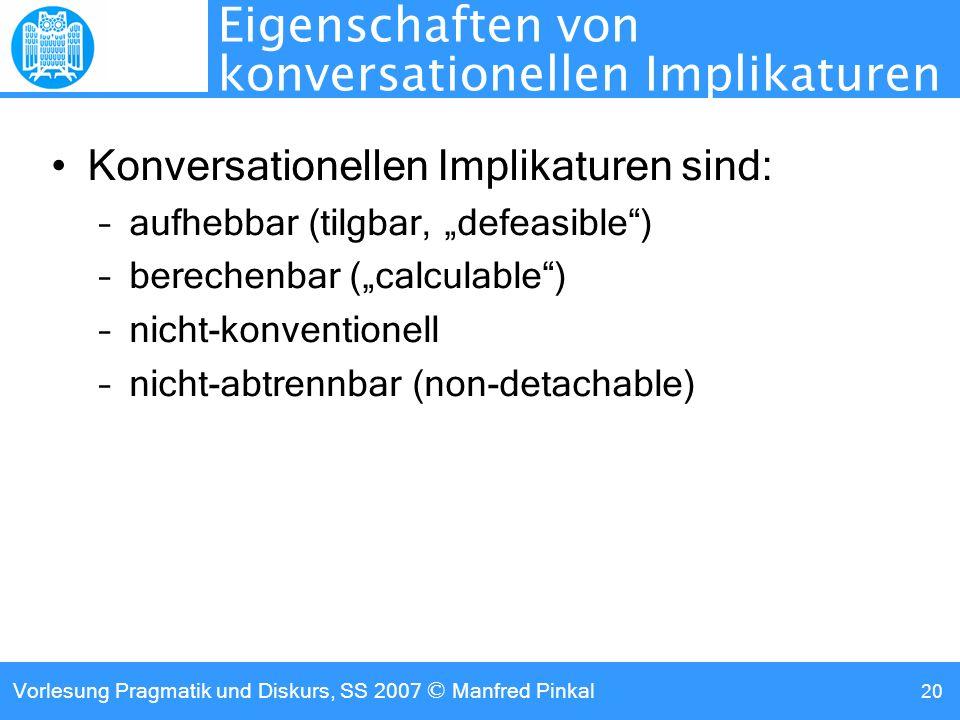 Eigenschaften von konversationellen Implikaturen