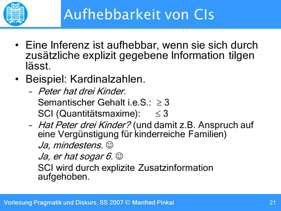 Aufhebbarkeit von CIs Eine Inferenz ist aufhebbar, wenn sie sich durch zusätzliche explizit gegebene Information tilgen lässt.