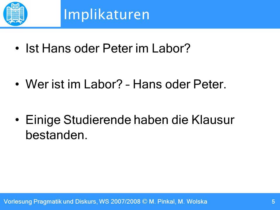 Implikaturen Ist Hans oder Peter im Labor