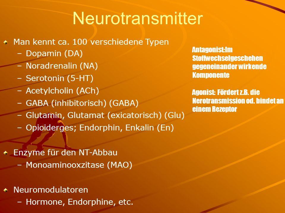 Neurotransmitter Man kennt ca. 100 verschiedene Typen Dopamin (DA)