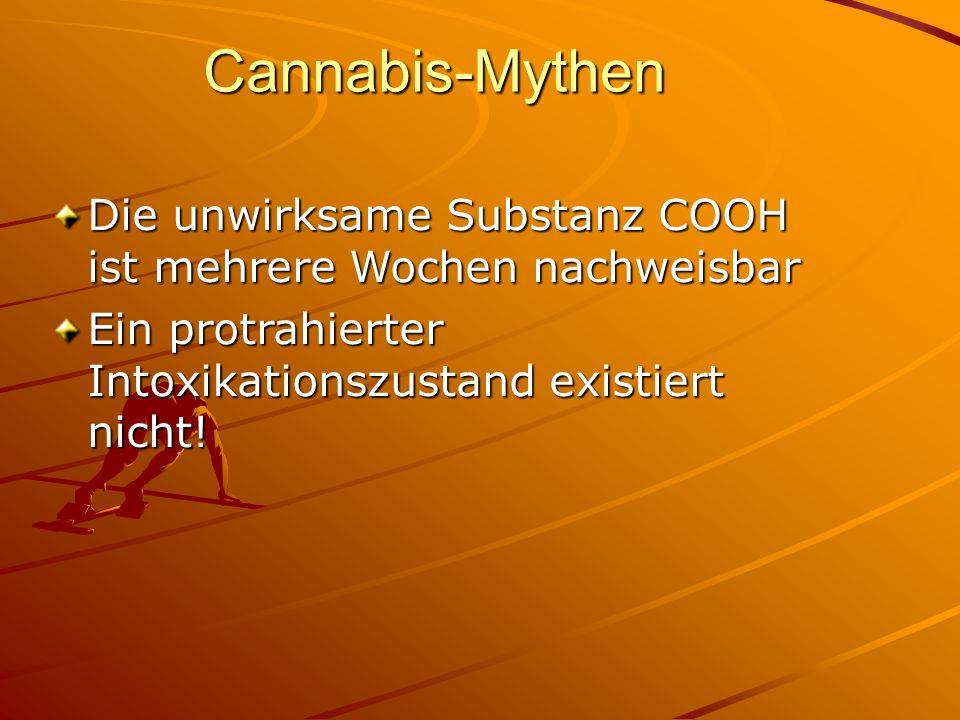 Cannabis-Mythen Die unwirksame Substanz COOH ist mehrere Wochen nachweisbar.