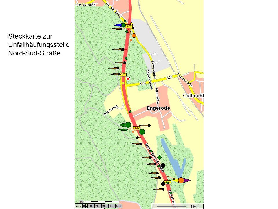 Steckkarte zur Unfallhäufungsstelle Nord-Süd-Straße