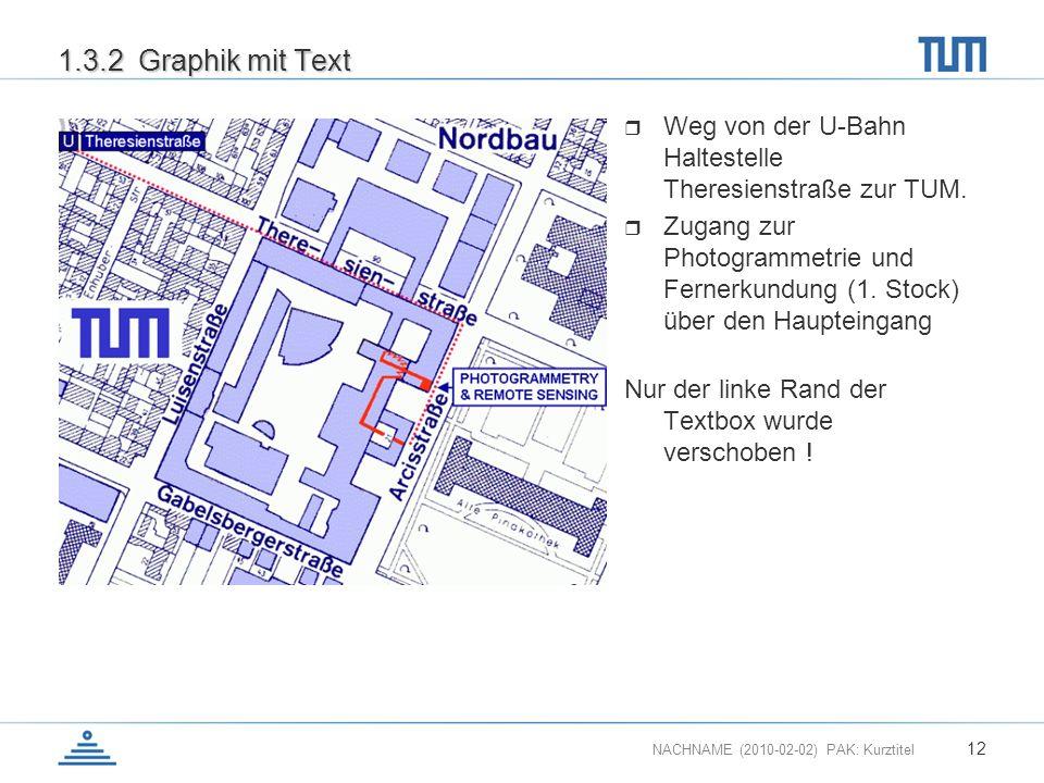 1.3.2 Graphik mit Text Weg von der U-Bahn Haltestelle Theresienstraße zur TUM.
