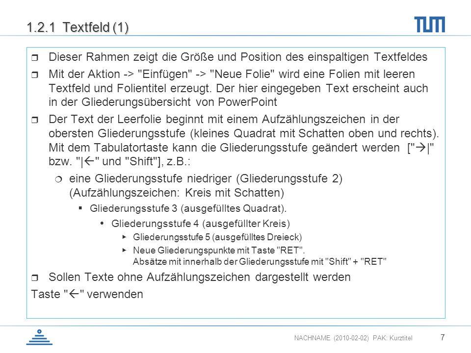 1.2.1 Textfeld (1) Dieser Rahmen zeigt die Größe und Position des einspaltigen Textfeldes.