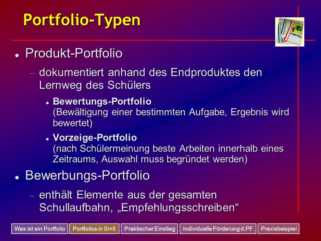 Portfolio-Typen Produkt-Portfolio Bewerbungs-Portfolio