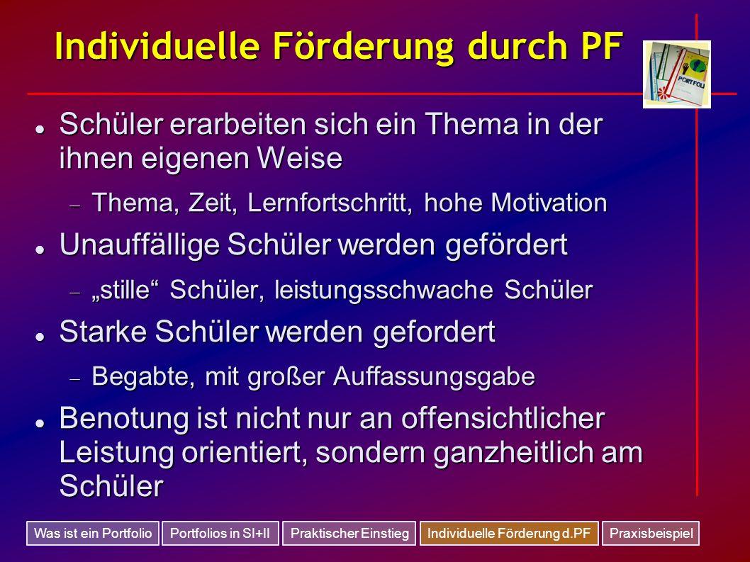 Individuelle Förderung durch PF
