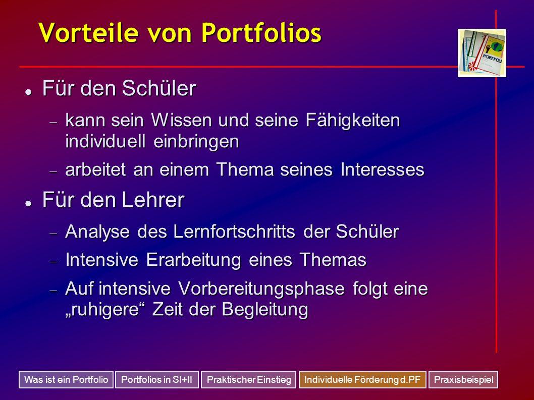 Vorteile von Portfolios