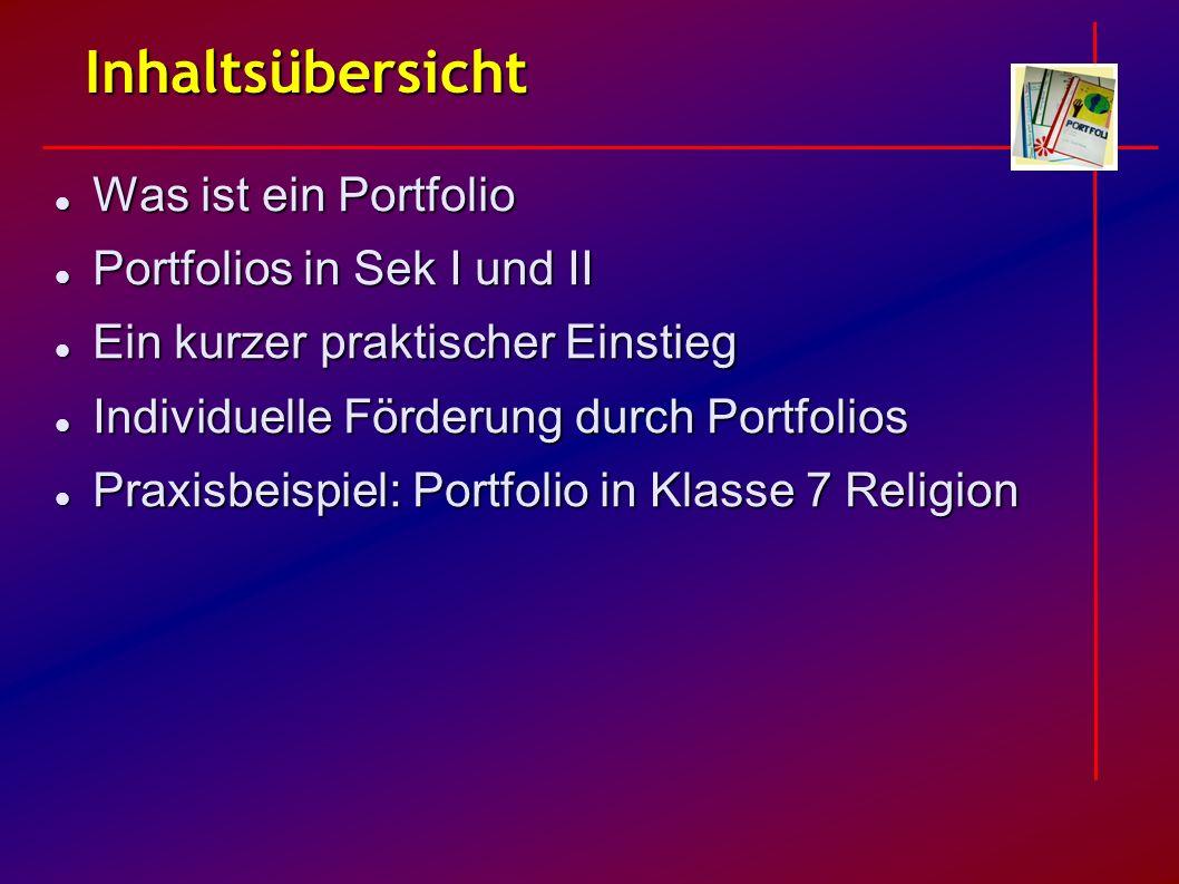 Inhaltsübersicht Was ist ein Portfolio Portfolios in Sek I und II