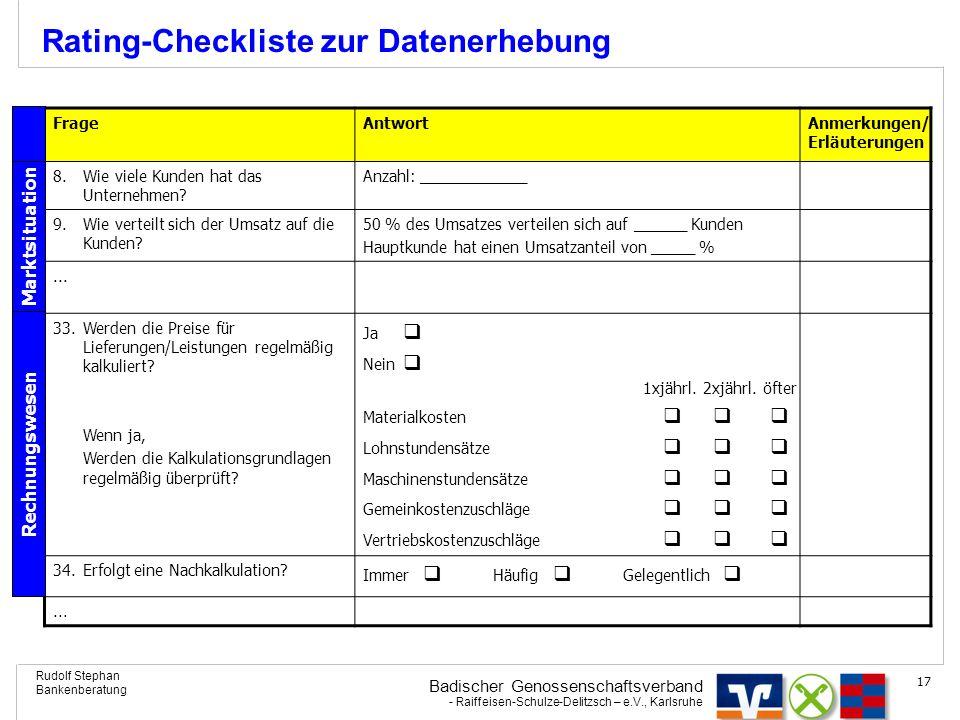 Rating-Checkliste zur Datenerhebung