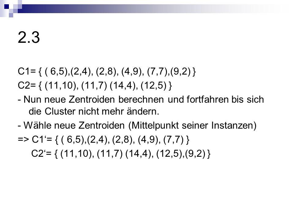 2.3C1= { ( 6,5),(2,4), (2,8), (4,9), (7,7),(9,2) } C2= { (11,10), (11,7) (14,4), (12,5) }