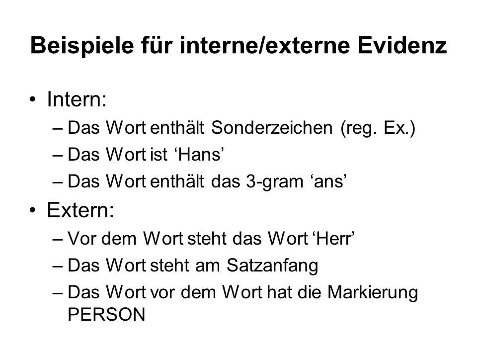 Beispiele für interne/externe Evidenz