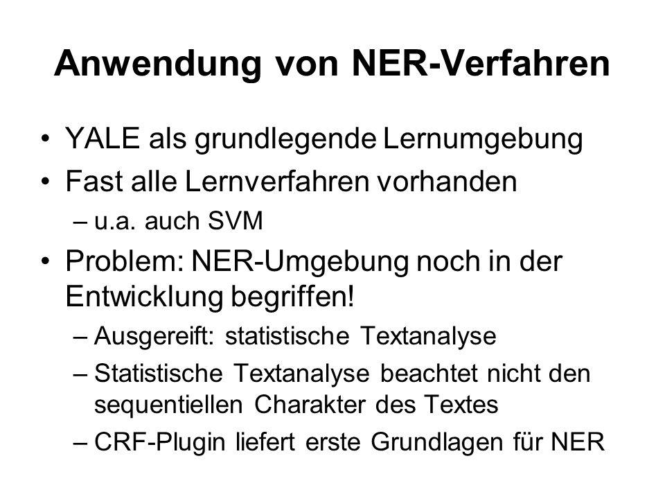 Anwendung von NER-Verfahren